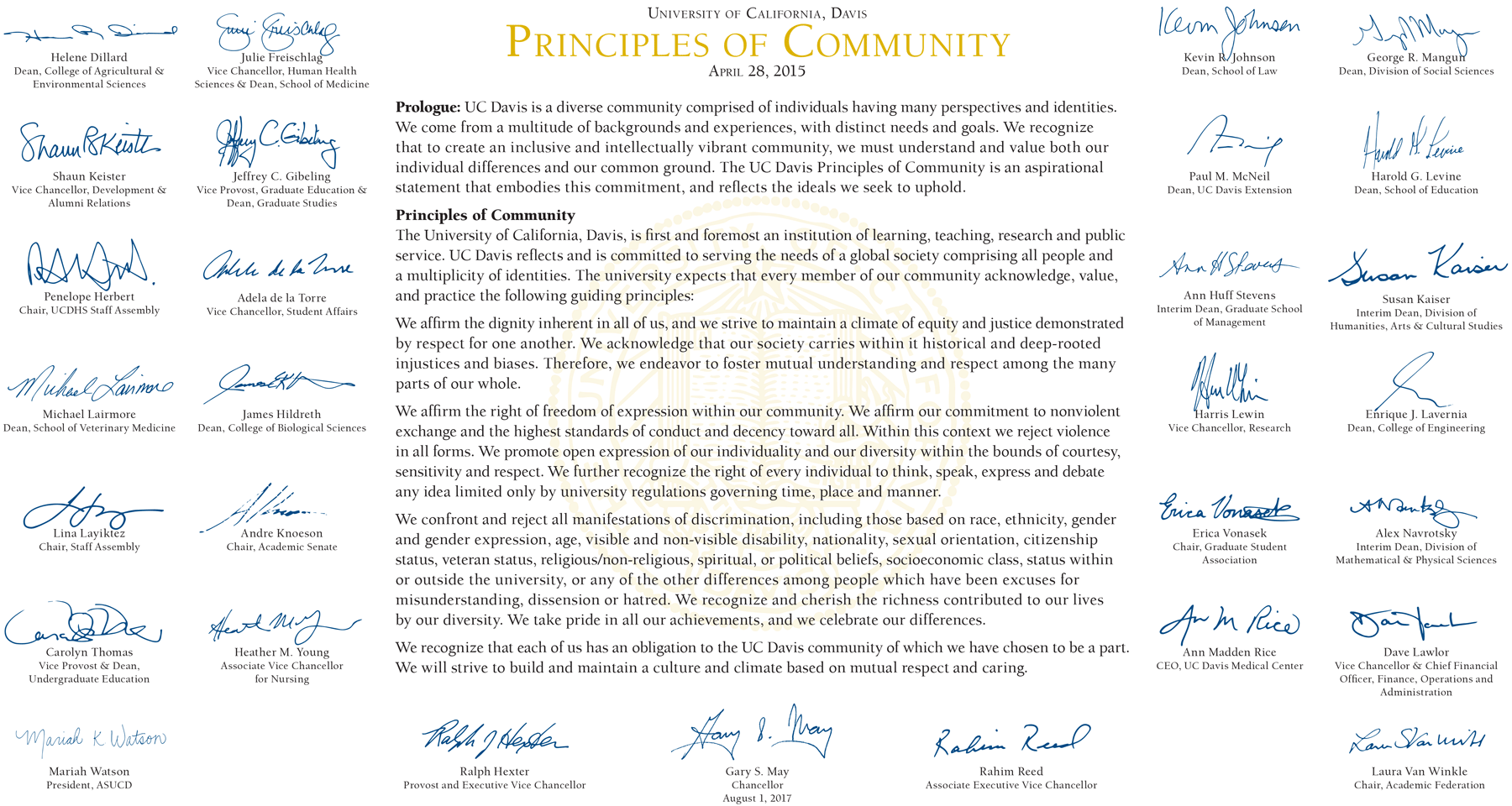 UC Davis' Principles of Community